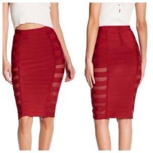 Wow Couture Sexy Mesh Bandage Burgundy Midi Skirt
